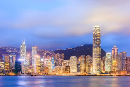 HONGKONG, CHINA - JULY 20: Night building colorful light beside Hongkong Victoria Harbor, on July 20, 2013 in Hongkong, China. Hongkong is a big international city in South of China.