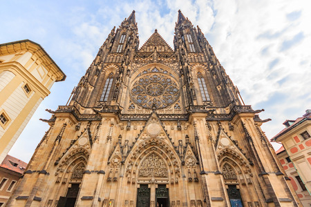 St. Vitus Cathedral in Prague, Czech Republic. The cathedral is the seat of the Archbishop of Prague and is the biggest and most important church in the country. Editorial