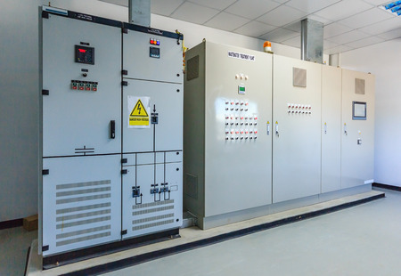 Electrical energy distribution substation in a wastewater treatment plant Фото со стока - 79505883