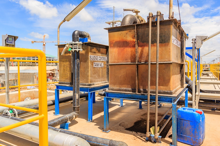 Sludge Control tank in Water Treatment plant, Modern urban wastewater treatment plant.
