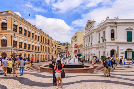 MACAU, CHINA - JULY 22, 2013: Historic Centre of Macau-Senado Square in Macau, China. The Historic Centre of Macau was inscribed on the UNESCO World Heritage List in 2005.