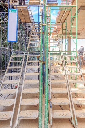 Stock Photo   Temporary Access And Staircase Supported By Reinforced  Scaffolding At The Construction Site