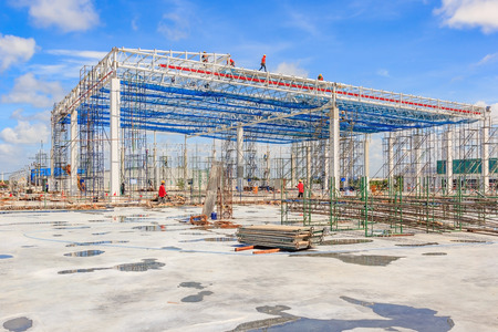 Steel frame structure workshop under construction