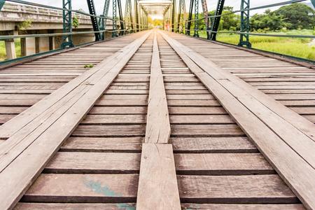 wood railways: Railroad bridge over the Iron Horse Trail head in Pai, Chiang Mai