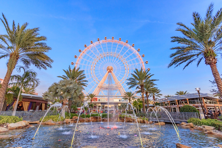 ORLANDO, FLORIDA, USA - JANUARY 05, 2016: The Orlando Eye on International Drive, The orlando eye is a 400 feet tall ferris wheel in the heart of Orlando and the largest observation wheel on the east coast, United States