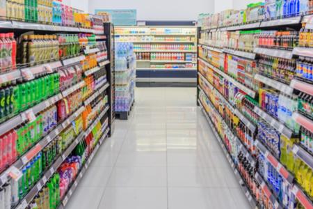 abstracte wazig foto van warenhuis bokeh achtergrond winkelen in de supermarkt
