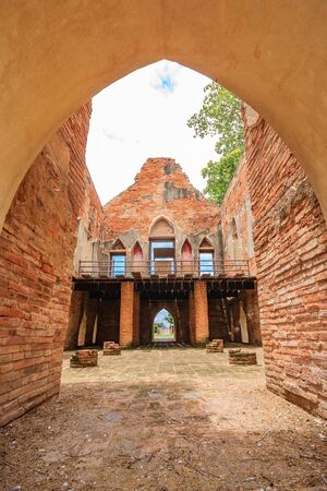 Old ancient ruin of Kham Yat Palace ancient city tourist attraction in Ang Thong, Thailand Stock Photo