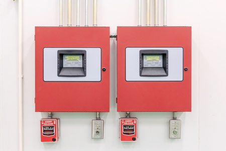 Close up of fire detection and extinguishing Control Panel - Fire Alarm Systems - Fire Protection. Banco de Imagens