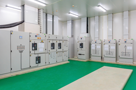 Electrical energy distribution substation in a new factory plant, Industrial electrical switch panel Stock Photo