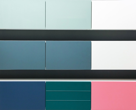 kitchen cabinets: Colorful cabinets door samples in market in a row