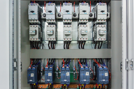 wiring plc control panel with wires in cabinet for machine rh 123rf com