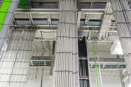 A Telecommunications cable tray in an industrial building