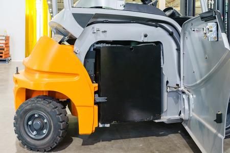 recharging electrical forklift, industry forklift parking Standard-Bild