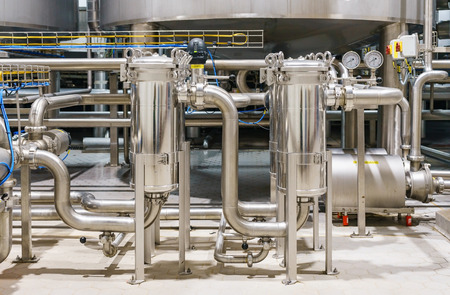 Plant for the production of beverage. Fresh beverage production and Mixing line. Banque d'images