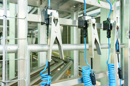connection connections: Static Earthing Protection for Road Tankers in new food and beverage plant Stock Photo