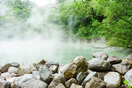 Hot steam at thermal valley, Beitou, Taipei, Taiwan Stock Photo