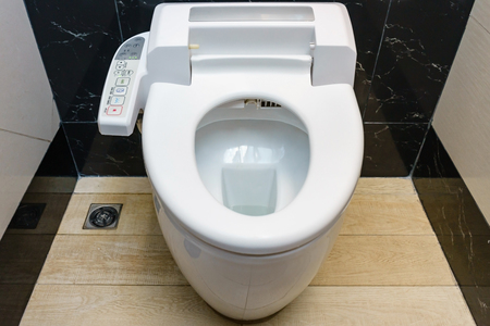 empty the bowel: Modern high tech toilet with hygienic and high technology of the toilet bowl, automatic flush toilet