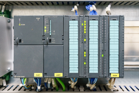 PLC programable logic controler, This picture show hard wiring communication socket connection