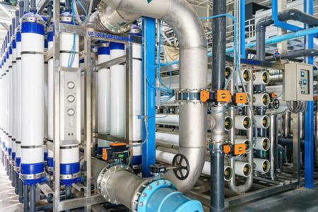 Système d'osmose inverse pour les installations de traitement de l'eau. Banque d'images