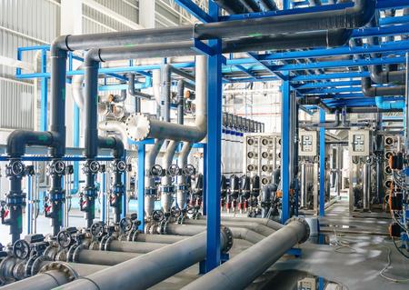 Duże przemysłowe uzdatnianie wody i kotłownia. instalacja do odwróconej osmozy, RO