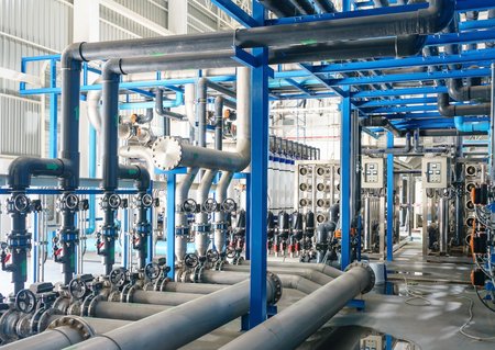 Large industrial water treatment and boiler room. reverse osmosis plant, RO Archivio Fotografico