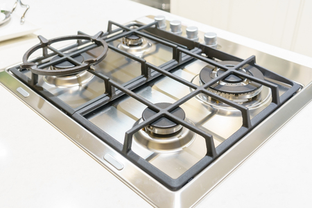 close up of Kitchen gas stove in the kitchen Stock Photo