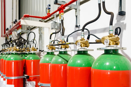 Hazard fire suppression system of a gas fire extinguishing. a closeup of the fire extinguishing system in an office building Archivio Fotografico