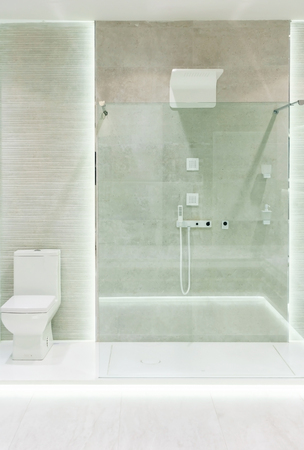 Bathroom interior with white walls, a shower cabin with glass wall, a toilet and sink 版權商用圖片