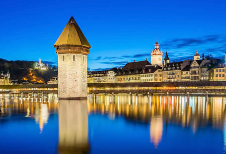 Panoramic view of city center of Lucerne with famous Chapel Bridge and lake Lucerne (Vierwaldstatersee), Canton of Lucerne, Switzerland