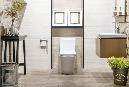 Close up of toilet bathroom interior with white ceramic seat 스톡 콘텐츠 - 104284732