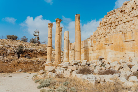 Temple of Artemis in the ancient Roman city of Gerasa, preset-day Jerash, Jordan. It is located about 48 km north of the capital Amman. Stock Photo
