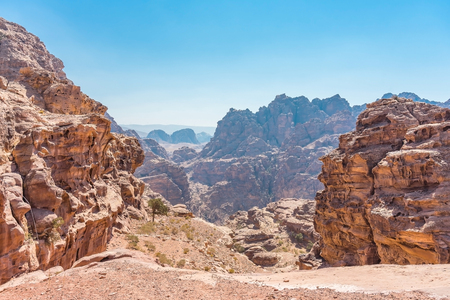 View of rocks and way to the Monastery in Petra, Jordan. 写真素材 - 111976135