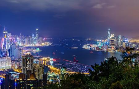 Amazing panoramic view of Hong Kong city skyline before sunset. Viewpoint from Braemar Hill peak, Hong Kong. Editorial
