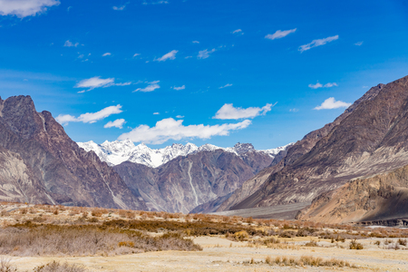 Beautiful mountain landscape background this way go to Turtuk Valley, Turtuk is the last village of India on the India - Pakistan Border situated in the Nubra valley region in Ladakh, India