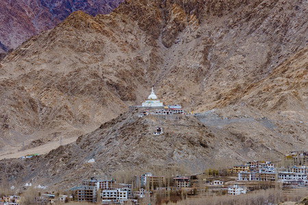 Shanti Stupa on a hilltop in Changpa, Leh district, Ladakh Region, Jammu and Kashmir State, northern India Stock Photo