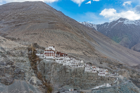 Diskit temple or diskit gompa-beautiful buddhist tibetan monastery- located in nubra valley, leh ladakh India with dramatic blue sky