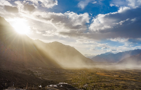 Landscape from Diskit Monastery. Diskit Monastery also known as Deskit Gompa or Diskit Gompa is the oldest and largest Buddhist monastery in the Nubra Valley of Ladakh, Kashmir, India.