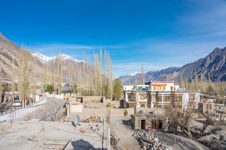 Small village on the way to Nubra Valley in Leh-Ladakh, Jammu and Kashmir, India