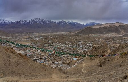 Aerial View of Cityscape Leh city or downtown with mountain background from Santi stupa at Leh Ladakh, Jammu and Kashmir, India