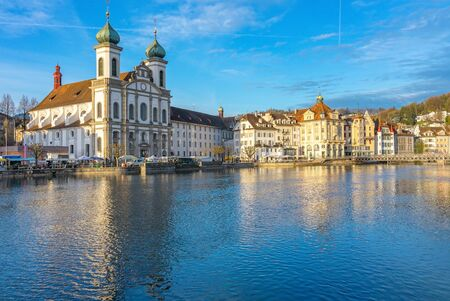 Panoramic view of Lucerne with the bridge Kapellbrucke, Wasserturm Tower and the Church of the Jesuits, Lucerne, Switzerland.