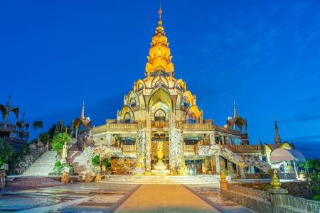 Decoration of surrounding area Big Main Pagoda in Wat Phra That Pha Son Kaew temple at Phetchabun Thailand 스톡 콘텐츠