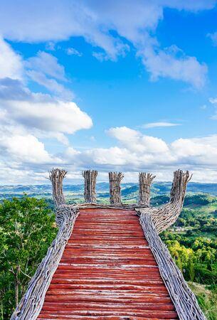 beautiful nature landscape of the colorful sky and mountains view of Phukaew Peak Khao kho at Phetchabun, Thailand