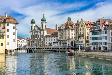 View of the historic city center of Luzern, Jesuitenkirche church and Reuss river, Luzern, Switzerland