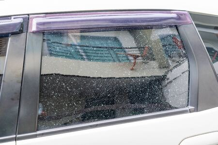 Car accident. inside left side window safety car are broken. image for car, vehicle, transportation, accident concept 스톡 콘텐츠