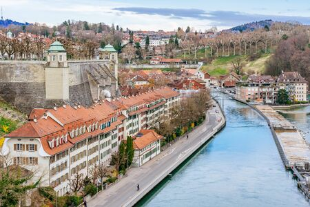 Panoramic view on the magnificent old town of Bern, capital of Switzerland 스톡 콘텐츠 - 127096408