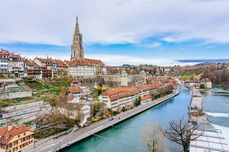 Panoramic view on the magnificent old town of Bern, capital of Switzerland 스톡 콘텐츠 - 127096422
