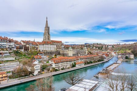 Panoramic view on the magnificent old town of Bern, capital of Switzerland 스톡 콘텐츠 - 127096429