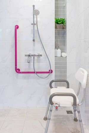 Interior of bathroom for the disabled or elderly people. Handrail for disabled and elderly people in the bathroom Archivio Fotografico - 131970990