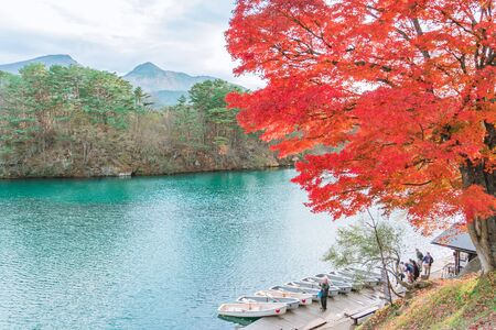 Autumn Leaves at Goshikinuma (Five Volcanic Lakes or Five Colored Lakes), a popular destination in Highlands in autumn in Fukushima prefecture, Japan Archivio Fotografico - 133871359