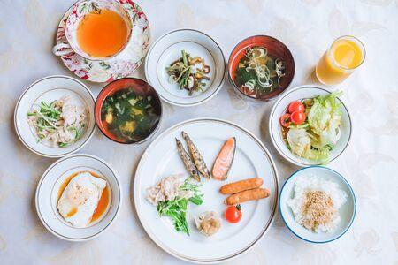 Typical Japanese breakfast, Japanese cuisine Archivio Fotografico - 133871238